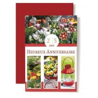 Carte Double Anniversaire Jardin, tulipes, vélo, lanterne