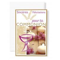 Mignonnette Communion Coupe rose, bougies blanche