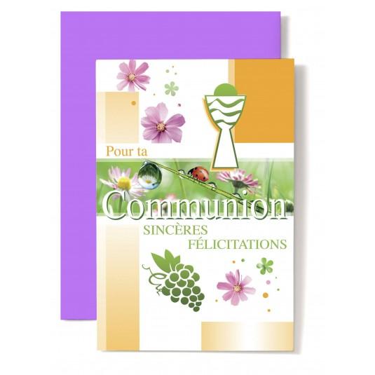 Carte double Communion : Coupe verte et blanche, raisin, coccinelle.