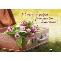 Carte Avec Message Bouquet de tulipes dans une valise