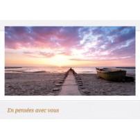 CARNET SC : Ponton lancé sur la mer vers le soleil couchant