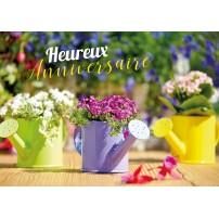 CARNET HA : Bouquets de fleurs dans des arrosoirs