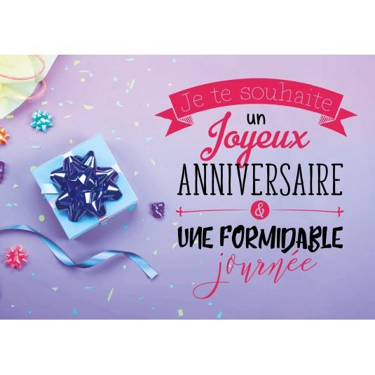 Carte Double Anniversaire Cadeau, emballage et confettis