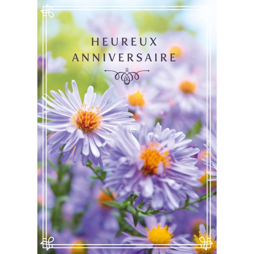 Carte Double Anniversaire Bouquet De Fleurs Violettes