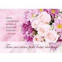 CARNET HM : Bouquet de fleurs roses,blanches,fond rose