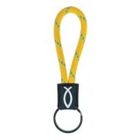 Porte-clé cordelette Ichtus jaune, 2 x 11 cm