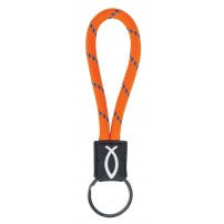 Porte-clé cordelette Ichtus orange 2 x 11 cm