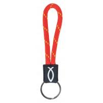 Porte-clé cordelette Ichtus rouge, 2 x 11 cm