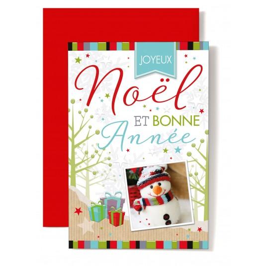 Carte double Joyeux Noël et Bonne Année Photo bonhomme de neige, décor dessiné