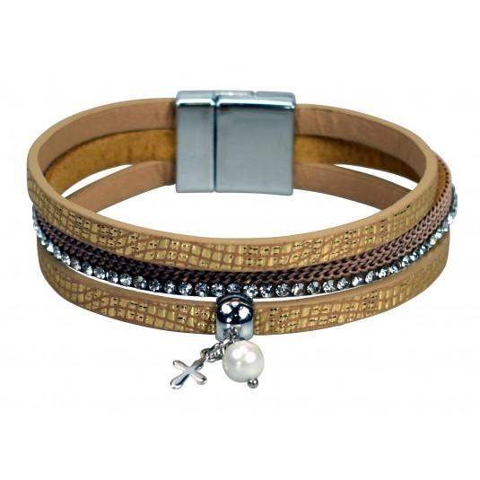 Bracelet anneaux mutliples, croix pendentif, simili-cuir, doré