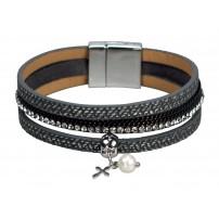 Bracelet anneaux mutliples, croix pendentif, simili-cuir, argenté