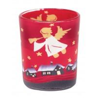 Petit bougeoir rouge déco anges, H 6, 5 cm, Ø 5, 5 cm