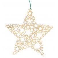 Décor de sapin étoile plaquage or, 6 x 6 cm