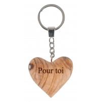 Porte-clé cœur en bois d'olivier
