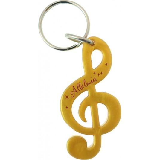 Porte-clé clé de sol doré « Alleluia »