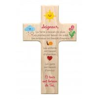 Croix en bois Seigneur la terre a besoin...