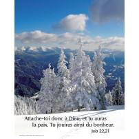 Poster Paysage de montagne sous la neige.