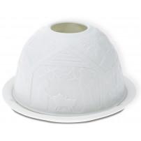 Bougeoir dôme motif crèche porcelaine