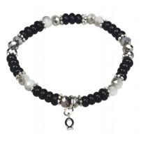 Bracelet de perles Ichtus noir 19 cm
