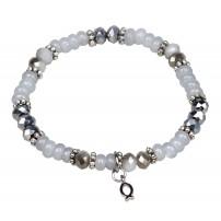 Bracelet de perles Ichtus blanc 19 cm