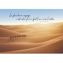 Carte Citation Caravane dans un désert