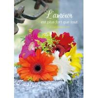 Carte Avec Verset Bouquet de fleurs posé sur un muret