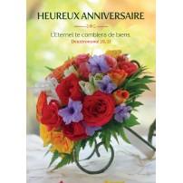 Carte Avec Verset Bouquet posé sur une table (HA)