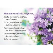 Carte Avec Verset Fleurs violettes sur fond blanc