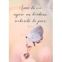 Carte Avec Verset Papillon posé sur un bourgeon