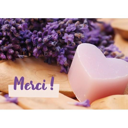 Mini Carte Savon en forme de cœur et lavande