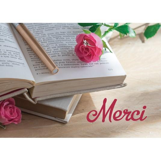 Mini Carte Livre ouvert, rose, stylo et bague