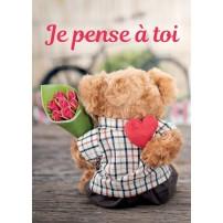 Mini Carte Ourson en peluche avec un bouquet de fleurs