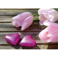 Carte Sans Texte Tulipes et cœurs roses sur une table
