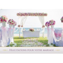 Carte Avec Message Scène de mariage sur une plage
