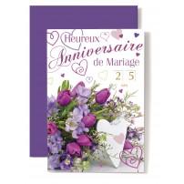 Carte Double Anniversaire De Mariage Coeur blanc, bouquet tulipes mauve