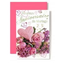 Carte Double Anniversaire De Mariage Coeur rose, roses rose