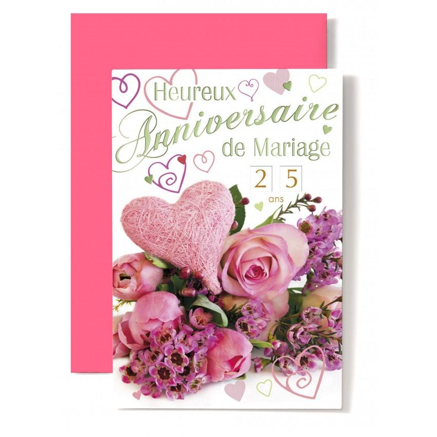 Carte Double Anniversaire De Mariage Coeur Rose Roses Rose