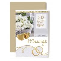 Carte Double Mariage Coeurs doré, bouquet de roses blanche