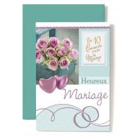 Carte Double Mariage Coeurs rose, bouquet de roses rose