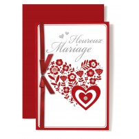 Carte Double Mariage Coeurs en fleurs, rouge