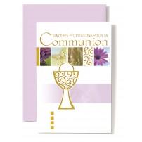 Carte Double Communion Frise, coupe dorée
