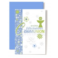 Carte Double Communion Coupe verte bande fleurie bleue