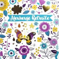 Carte Double Carre Fleurs et papillon (retraite)