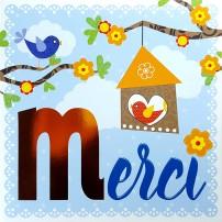 Carte Double Carre Oiseaux sur branche et nichoir (Merci)