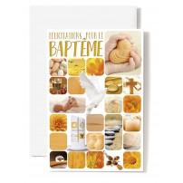 Carte Double Bapteme Mosaïque thème bébé orange