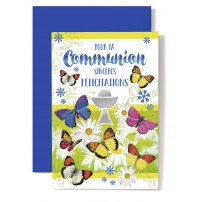 Carte Double Com Coupe, papillons, marguerites