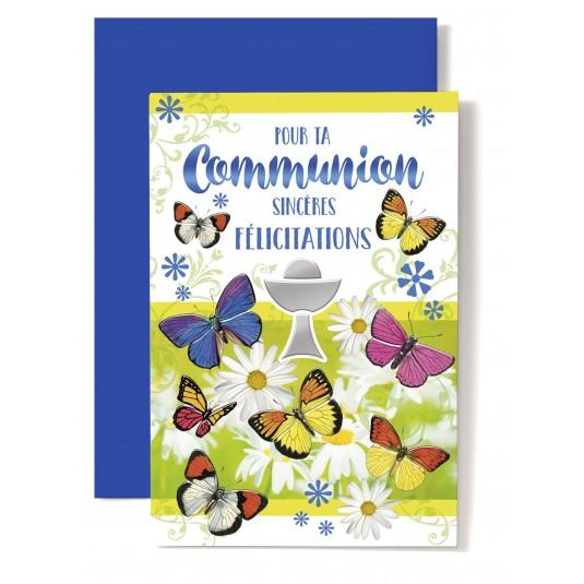 Carte double com : Coupe, papillons, marguerites
