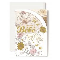Carte Double Naissance Tétine, landeau, fleurs doré et rose