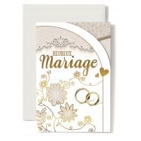 Carte Double Mariage Fleurs dessinées, alliances