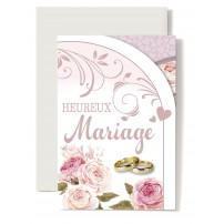Carte Double Mariage Pivoines rose, alliances